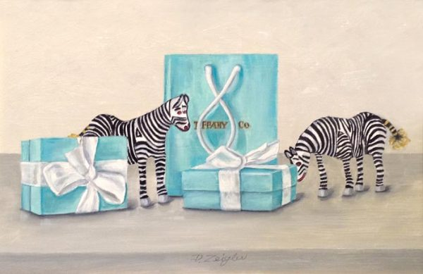 Patti Zeigler Whimsical Oil Painting on Board of Tiffany Jewelry Box and Bag in Blue Green Teal