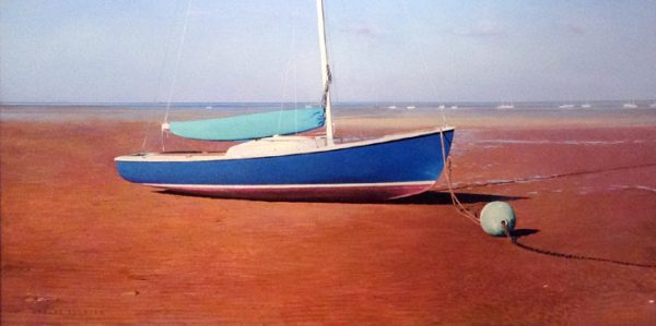 Robert Bolster Traditional Realism Oil Painting of Sailboat on Beach Moored Buoy