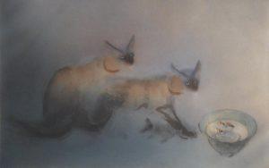 Kaiko Moti - Siamese Cats II (22x30 etching on paper)