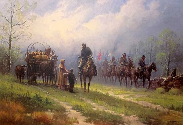 G Harvey - Siege of the South print of confederate soldiers on horses talking to family in wagon