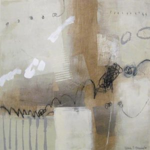 Ursula Brenner Contemporary Abstract Painting on Paper in Beige White and Gray
