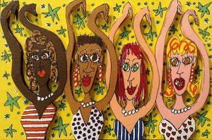 James Rizzi - Simon Sez print of women holding arms up