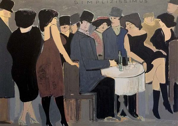 David Schneuer - Simplizissimus print of people gathered at a cafe