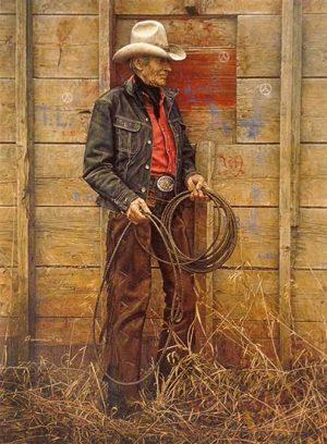 James Bama - Slim Warren print of old man holding lasso