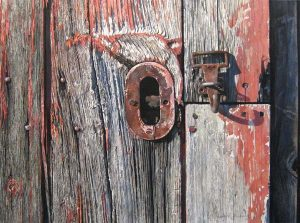 Walter Gaffney-Kessell - Smith Field Latch - Realistic drawing of a barn door latch
