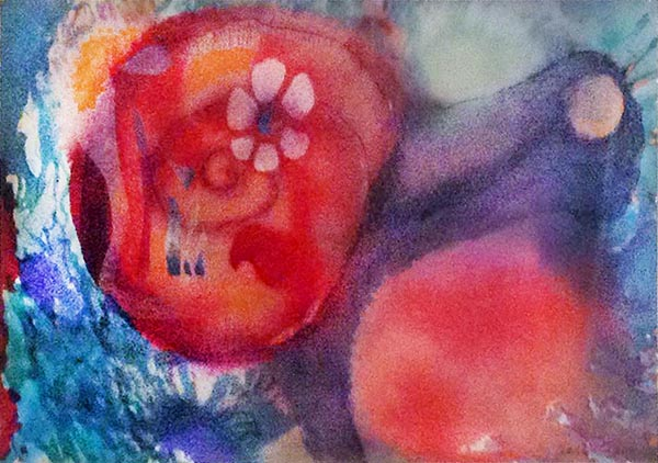 Jerry Garcia - Snail Garden colorful psychedelic abstract print of snail with red