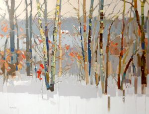 Josef Kote Original Painting on Canvas of Birch Trees and Snow in Winter Forest