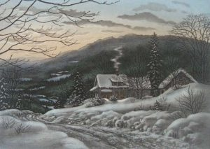 Kathleen Cantin - Snowy Evening (7x9 etching on paper)