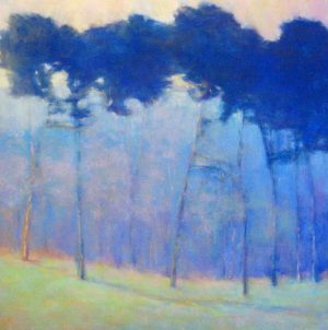 Ken Elliott - Soft Blue Progressions Giclee of Blue Tree Forest at Sunset