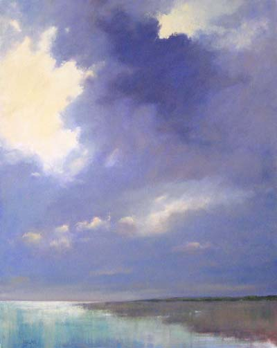 Mary Nolan Contemporary Painting of Blue Ocean Hitting the Beach Shore with Purple Clouds