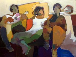 Hessam Abrishami - Somewhere in Time print of four people sitting and one of them with a guitar