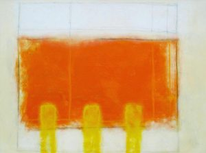 Anthony James Abstract painting of a white background with orange rectangle and three yellow pillars