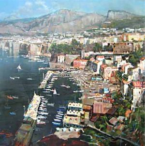 Sanzone oil painting of Sorrento Coast Italy on canvas