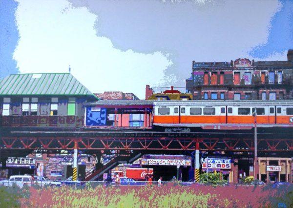Daniel Coffey Contemporary Photo Manipulation Cityscape on Canvas of Boston South End Vintage Past Nostalgia