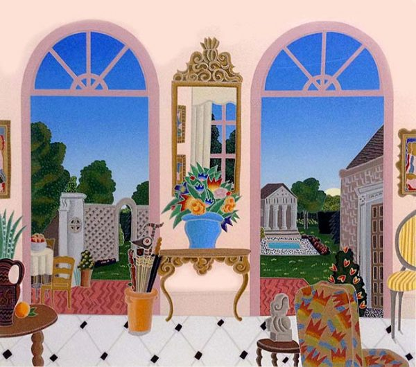 Thomas McKnight - Southampton room with mirror leading to yard with pool