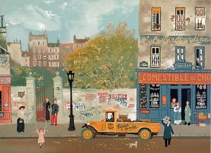 Michel Delacroix - Souvenirs de Paris #1 print of street in Paris with people working and playing