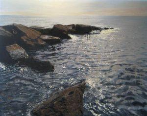 Joseph Sampson Painting of Rocks on Shoreline with Rippling Waves