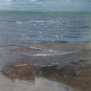 Joseph Sampson Painting of Blue Ocean with Sparkling Waves