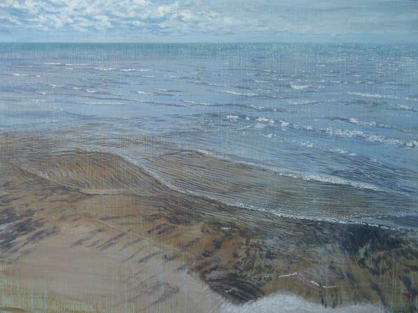 Joseph Sampson Painting of Sparkling Rippling Waves in Blue Ocean