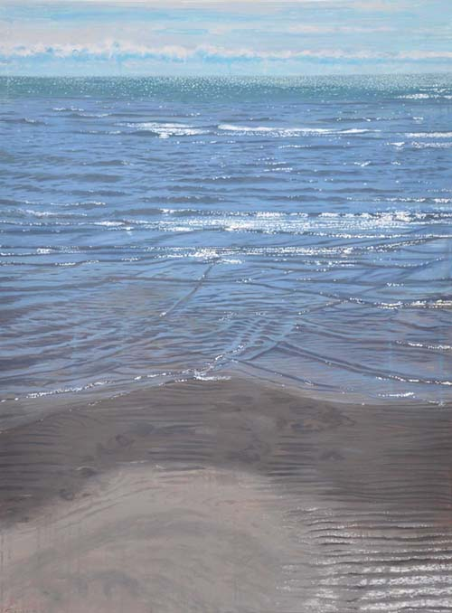 Joseph Sampson - Realistic oil painting of ocean and shore with clear blue water in the sun