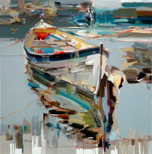 Joseph Kote Giclee on Canvas of Abstract Contemporary Boat on Water