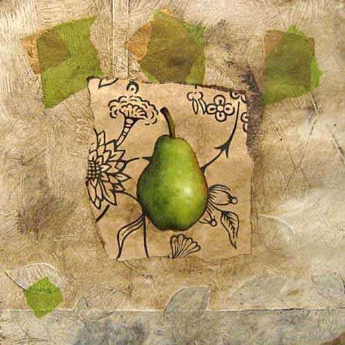 Jeanette Staley - Spring Bartlett - Painting of a pear on a paper collage