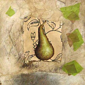 Jeanette Staley - Spring Bosc - Painting of a pear on a paper collage