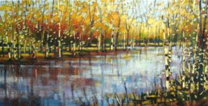 Robert Chapman colorful painting of birch trees along river