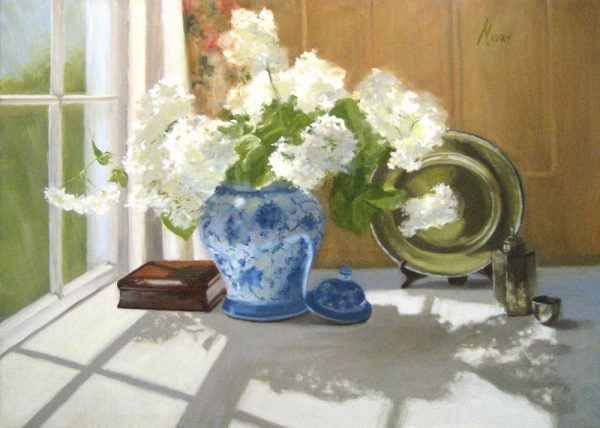 Mary Mabry Traditional Oil on Canvas Painting of White Peony Flowers in Blue and White Ginger Jar Vase in Windowsill