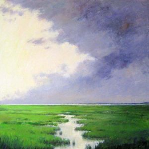 Mary Nolan Contemporary Oil Painting of Kelly Green Marsh with Purple Clouds