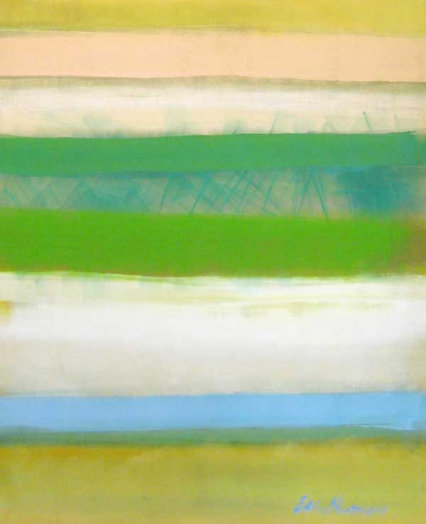 Ellen Hermanos Colorful Contemporary Abstract in Spring Greens and Pink