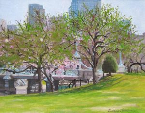 Hilary Baldwin Oil on Canvas of Boston Public Garden in Spring with Pink Blossom Flowers Blooming