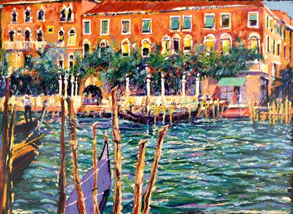 Aldo Luongo - Springtime in Venice print of canal and gondolas with trees and buildings