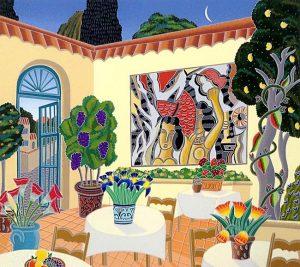 Thomas McKnight - St Paul de Venice print of dining terrace with mural