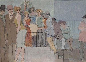 David Schneuer - Staircase print of a group of well-dressed people standing together outside a building