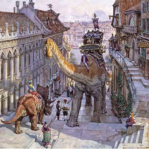 James Gurney - Steep Street print of people riding dinosaurs on city streets