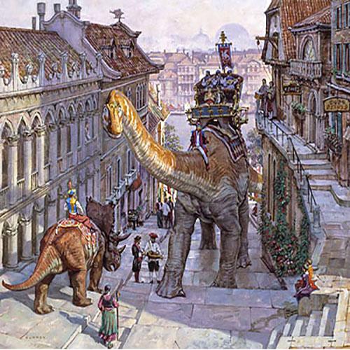 James Gurney - Steep Street print of people riding dinosaurs on city streets