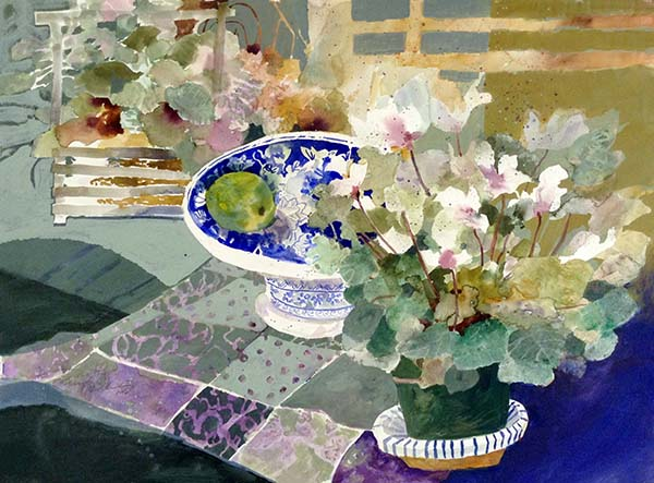 Dorothy Ganek painting of flowers and bowl with lime