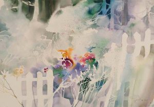 Dorothy Ganek abstract watercolor painting with flowers and fence