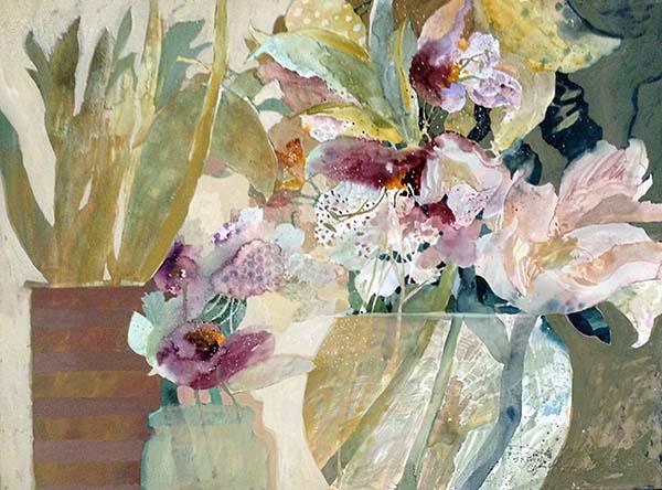 Dorothy Ganek watercolor Painting of flowers and leaves in vases