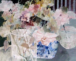 Dorothy Ganek watercolor painting of flowers in a vase