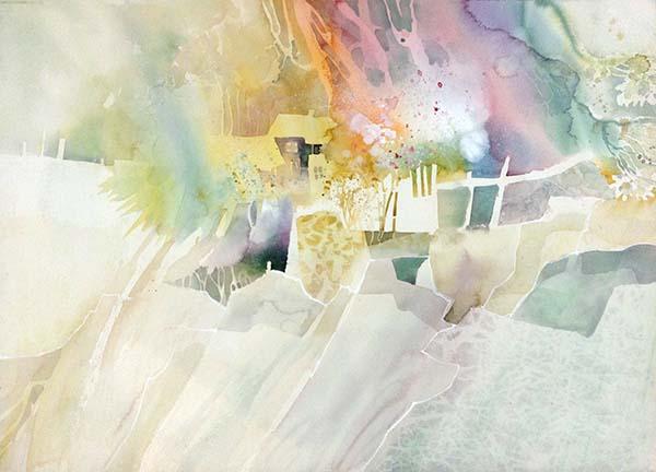 Dorothy Ganek - Still Life #18 abstract watercolor with house