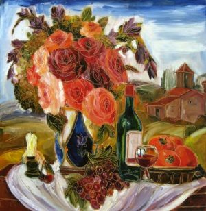 Maya Evantov Colorful Floral Still Life with Wine Flowers Food and Candle