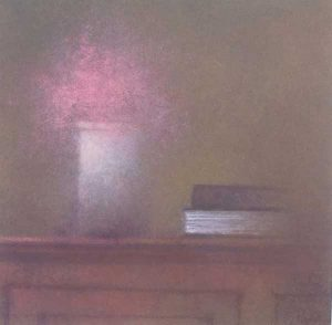 Renzo Crociara Painting of pink flowers in a white vase with book on table
