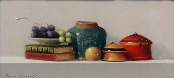 Pierre Jacqueline - Still Life with Grapes painting with jars, books, an onion and grapes
