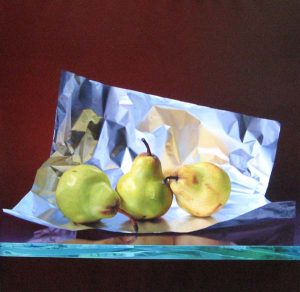 Francisco Cienfuegos - Still Life with Pears - Painting of pears on crinkled tin foil