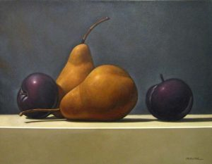 J R Newton Contemporary Still-life Painting of Pears and Plums on Table