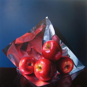 Francisco Cienfuego Realistic Still Life with Apples and Foil