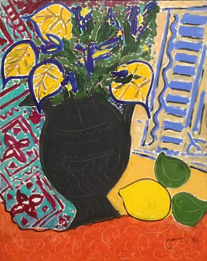 Kevin Bonnici Still Life with Lemons painting of black vase with flowers next to lemon