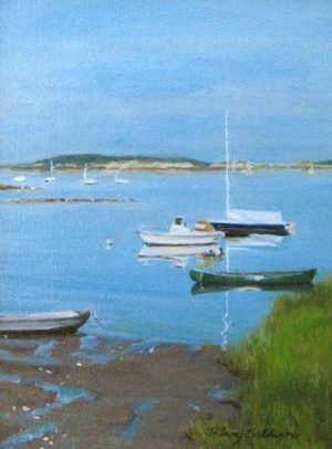 Hilary Baldwin - Stillness in the Bay - Painting of boats in the still ocean